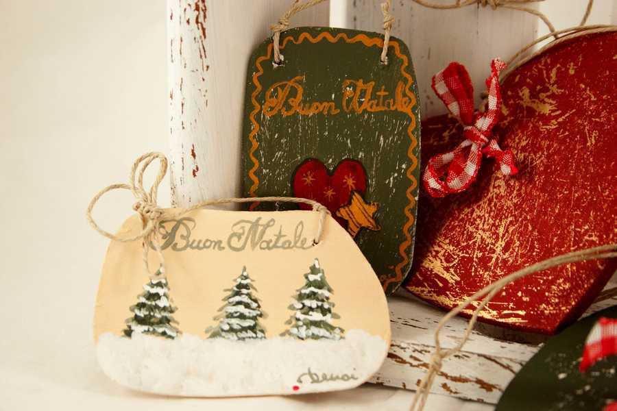 Decorazioni In Legno Natalizie : Decorazioni natalizie in legno dipinte a mano feste natale