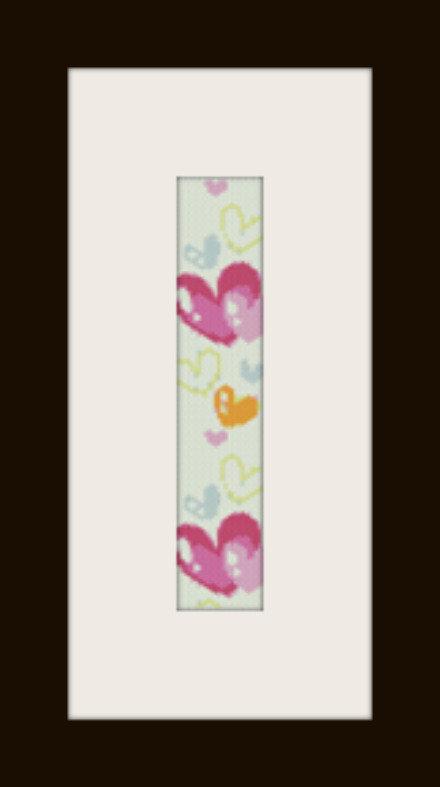 PDF schema bracciale cuori colorati in stitch peyote pattern - solo per uso personale