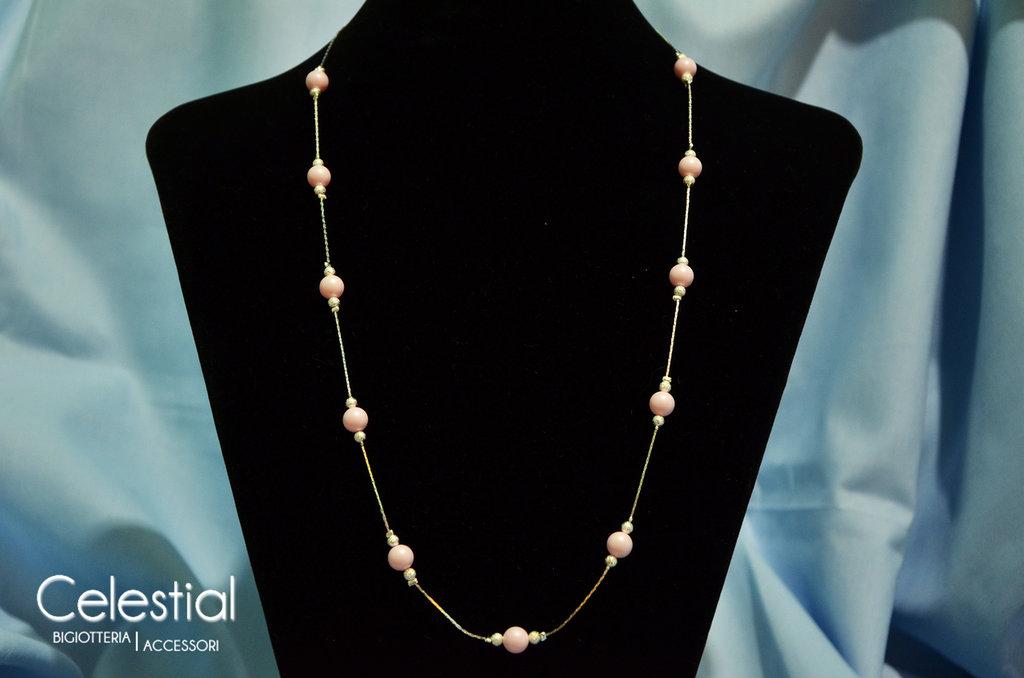 Collana Giro di Perle - Pastel Rose