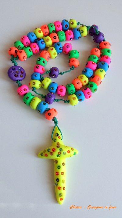 Rosario in fimo fatto a mano con perline in vetro - creazioni personalizzabili Gli originali! Idee regalo originali bomboniere