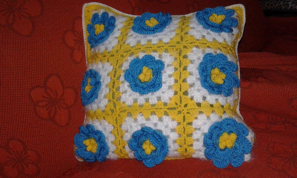 Copri Cuscino lana ad uncinetto