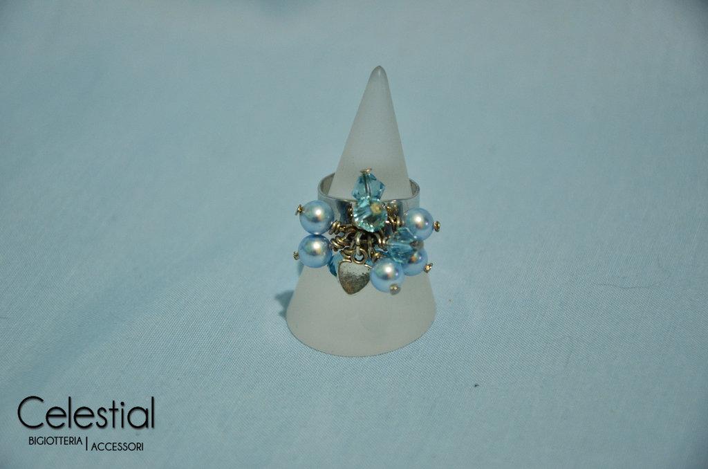 Anello con biconi e perle - Aquamarine