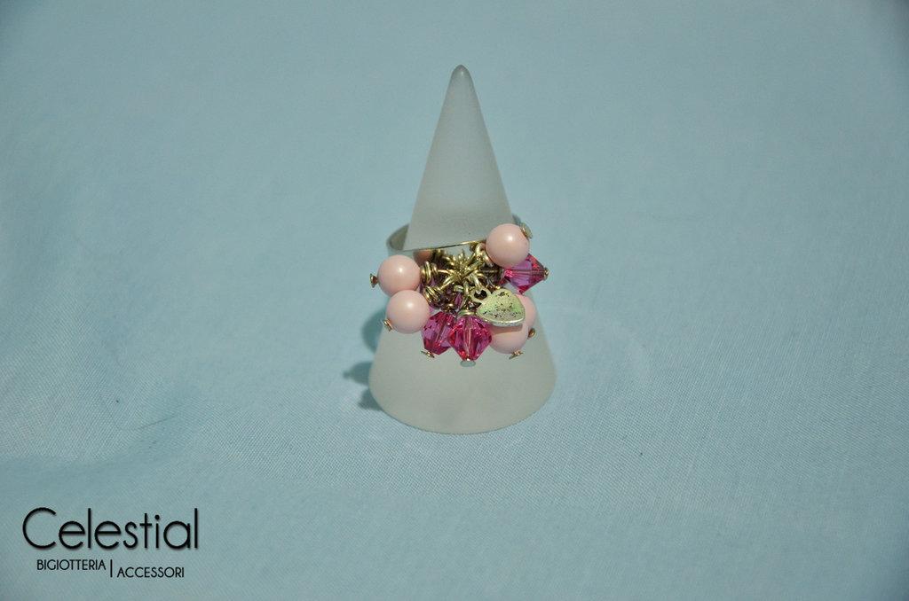Anello con Biconi e Perle - Rosa