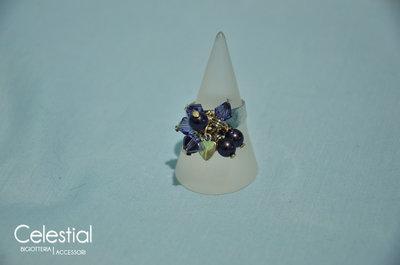 Anello con Biconi e Perle - Viola