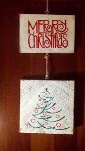 Targa in legno Merry Christmas con Albero