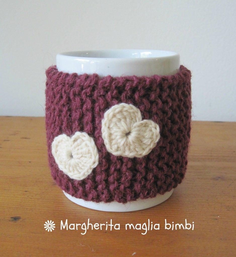 """Copritazza """"due cuori"""" in pura lana fatto a mano - idea regalo!"""