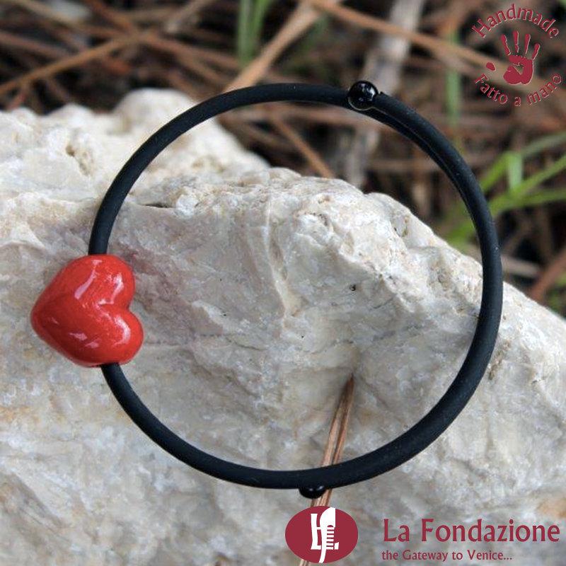 Bracciale Piccolo Cupido color rosso in vetro di Murano fatto a mano