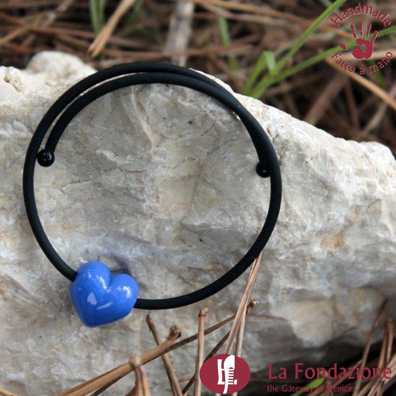 Bracciale Piccolo Cupido color blu cobalto in vetro di Murano fatto a mano