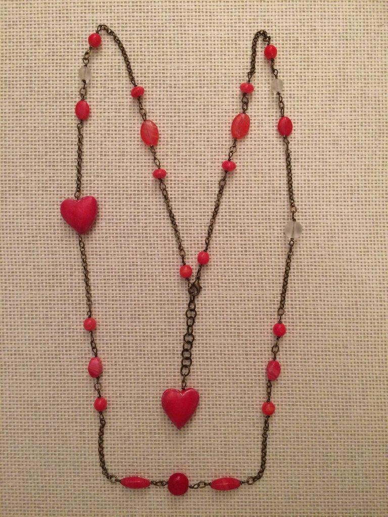 Collana cuoricini e vetro rossa