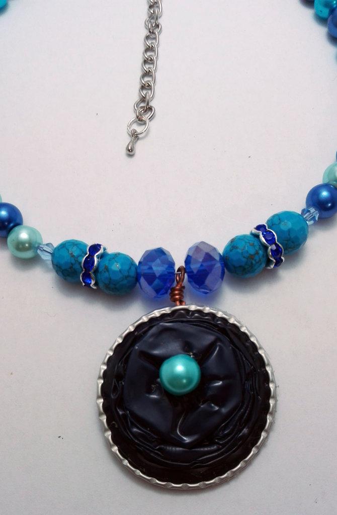 Collana celeste/ blu su cialda nespresso