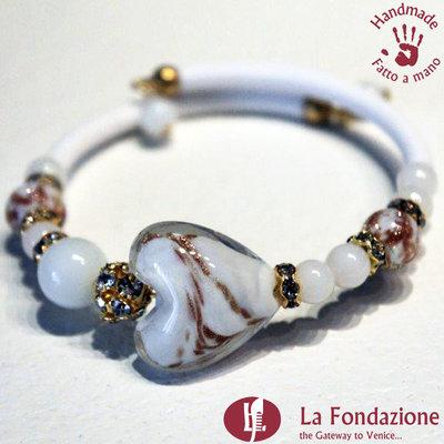 Bracciale Valentino color bianco in vetro di Murano fatto a mano