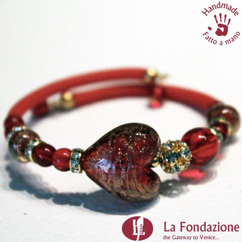 Bracciale Valentino color rosso in vetro di Murano fatto a mano