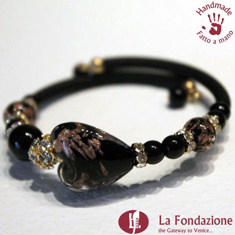 Bracciale Valentino color nero in vetro di Murano fatto a mano