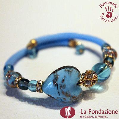 Bracciale Valentino color azzurro in vetro di Murano fatto a mano