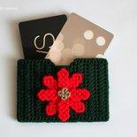 Porta carte di credito con stella di Natale fatto a mano, regali Natale, regalo donna