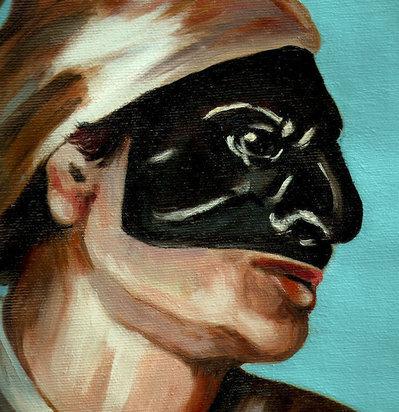 Dipinto maschera di Pulcinella olio su tela ovale