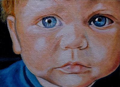 Ritratto su commissione olio su tela bambini - Per la casa