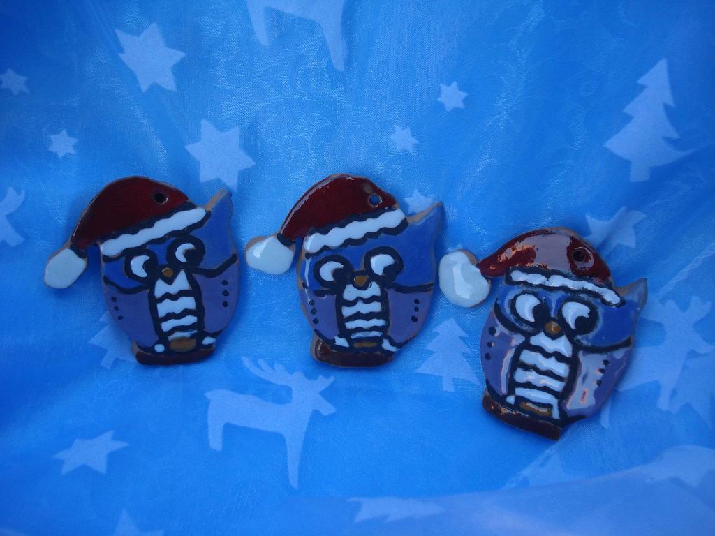 gufi natalizi in ceramica