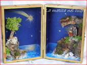 Presepio sul mare fatto a mano in scatola di legno grande 01 gruppo natività