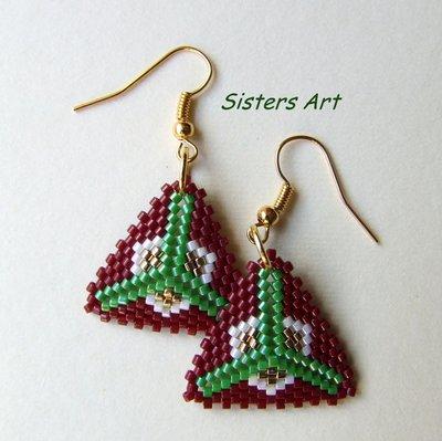 """Orecchini """"Stella Alpina"""" realizzati con perline Miyuki delica"""