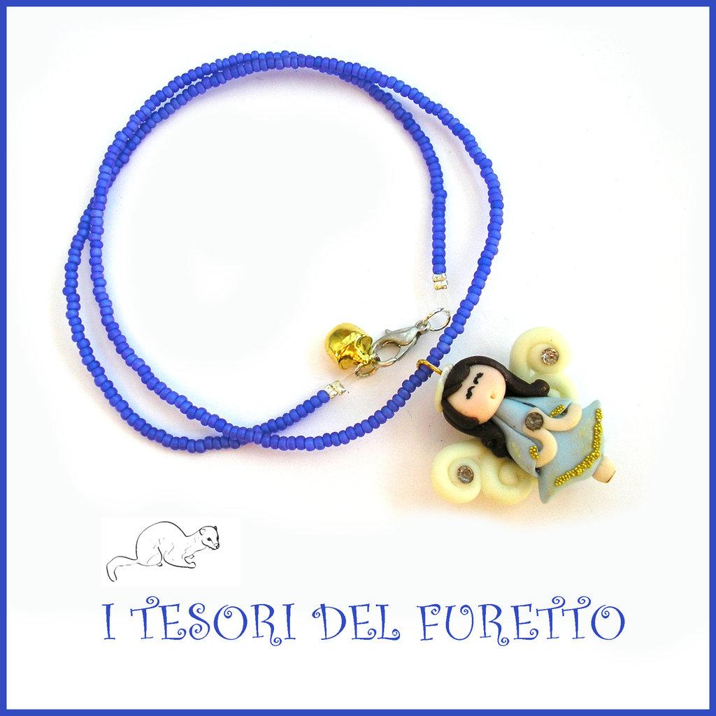 """Collana Natale 2015 """"Fufuangel  azzurro oro su base blu matt """" Angelo angioletto FImo cernit premo idea regalo bijoux natalizi bambina donna per lei kawaii"""