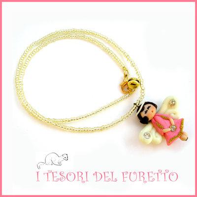 """Collana Natale 2015 """"Fufuangel rosa e oro base oro"""" Angelo angioletto FImo cernit premo idea regalo bijoux natalizi bambina donna per lei kawaii"""