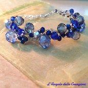 Bracciale fatto a mano fili argento, e cristalli blu