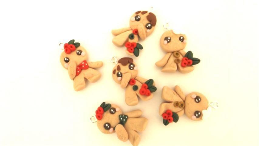 JUST XMAS - 1 CIONDOLO a scelta  charms biscottini OMINI di Pan di zenzero - fimo - chiudipacco segnaposto