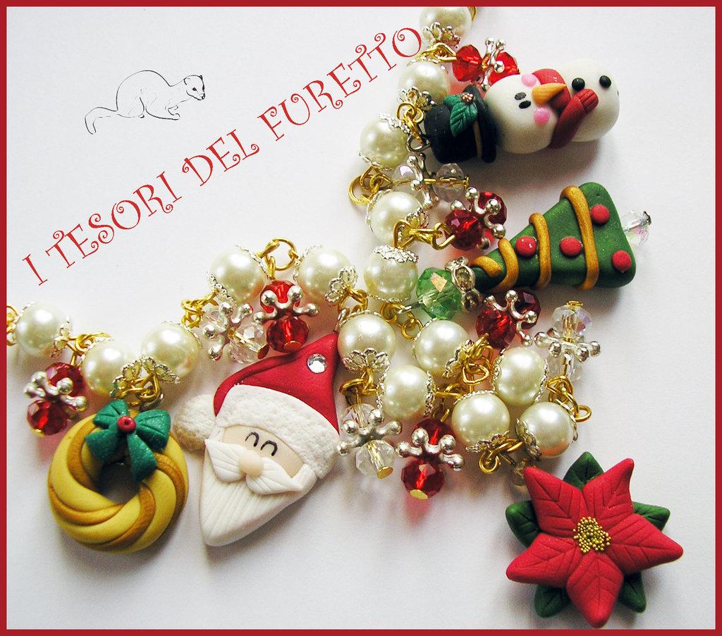 """Collana Natale 2015 """"Babbo Natale, ghirlanda, omino di neve, stella di Natale"""" fimo cernit kawaii idea regalo bijoux natalizi donna bambina"""