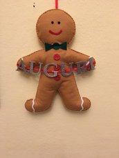 Ghirlanda fuoriporta natalizia omino pan di zenzero, gingerbread fatto a mano in pannolenci