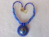Collana di perline con pendente, cabochon, blu