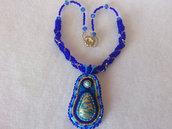 Collana di perline con pendente, cabochon, turchese