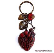 Portachiavi in bronzo cuore anatomico serratura chiave