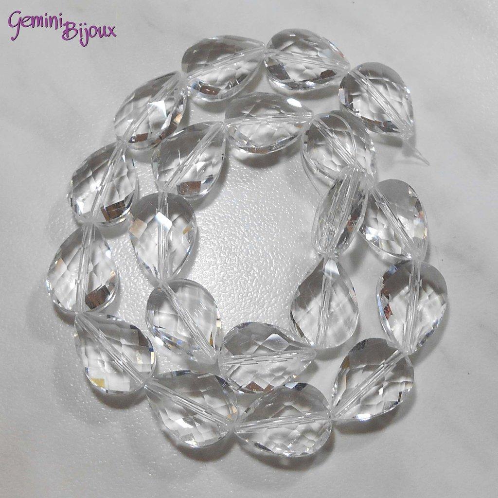 Goccia in vetro sfaccettata crystal trasparente mm. 18x13x10