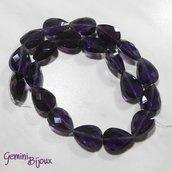 Goccia in vetro sfaccettata dark purple trasparente mm. 18x13x10