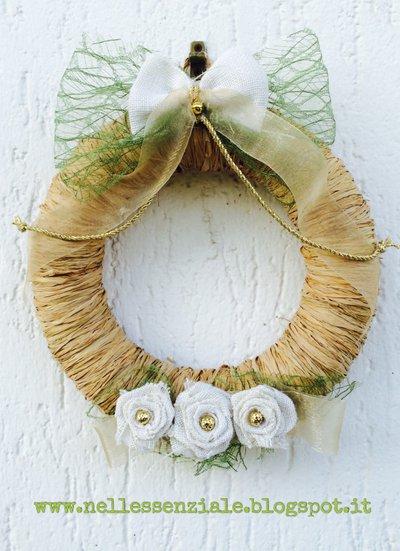 Ghirlanda Handmade in rafia naturale e juta
