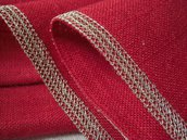Runner juta rosso con profilo oro- decorazioni natalizie - Dimensione 144x36 cm- Varieta' di opzioni colore- Pacchetto regalo incluso