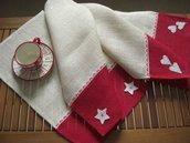 Set 2 tovagliette americane di juta rosso e bianco -decorazioni cuore o stella-pizzo e feltro-Dimensione 50x30cm-San Valentino