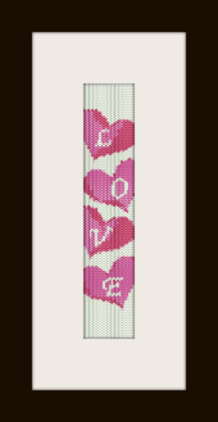 PDF schema bracciale Love in stitch peyote pattern - solo per uso personale