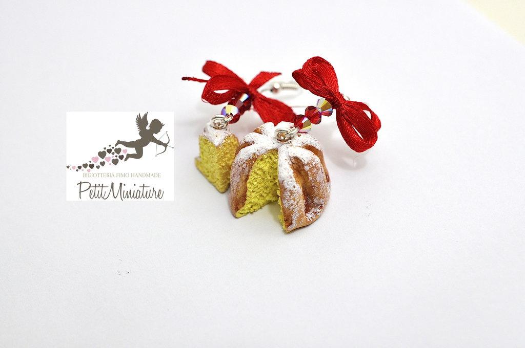 Orecchini Pandoro Natale-Idea Regalo-Orecchini Fimo-Collezione Natale-Perle Bicono Swarovski