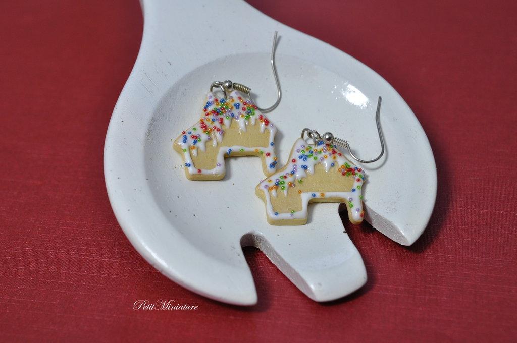 Gingerbread House orecchini -Biscotti di Natale-Felice Natale-Natale in famiglia-Glitter