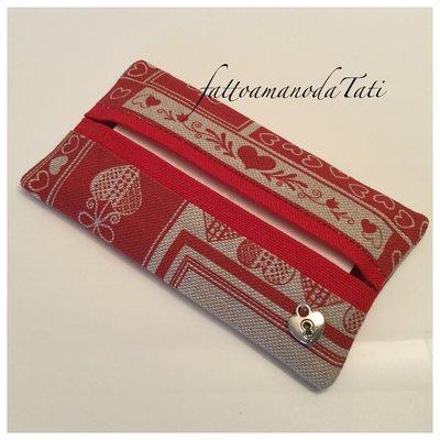 Porta fazzoletti da borsa in cotone fantasia ecrù e rosso