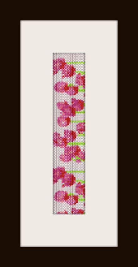 PDF schema bracciale Papaveri in stitch peyote pattern - solo per uso personale
