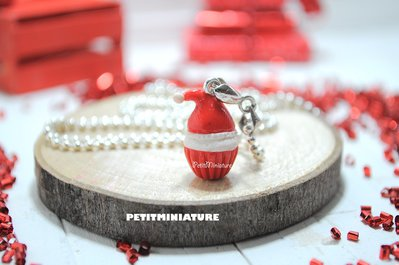 Collana di Natale- Miniature Cibo- Cupcake Natale- Catena in Argento