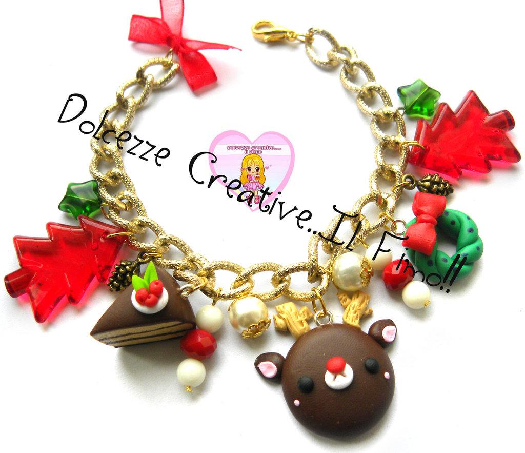 ☃ Natale In Dolcezze 2015 ☃ Bracciale Renna  tonalità oro Con alberi di natale, ghirlanda, agrifoglio e cake
