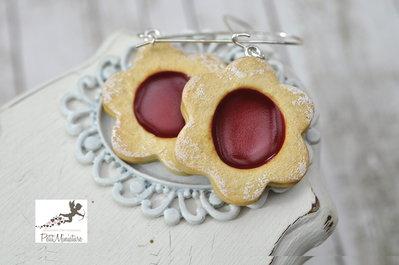 Orecchini Biscotto alla Marmellata di Fragole-Miniature biscotti-biscotti gioielli-Collezione Natale