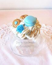 Barattolo porta-spezie decorato azzurro