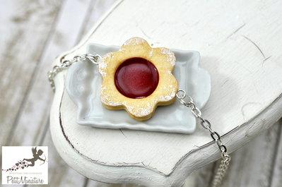 Bracciale Biscotto alla Marmellata di Fragole-Miniature biscotti-biscotti gioielli-Collezione Natale