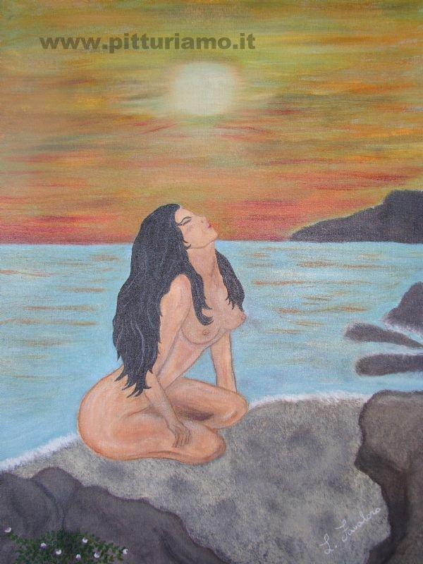 "Dipinto su tela ""Signorina al tramonto"""