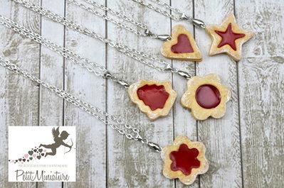 Collana Biscotto alla Marmellata di Fragole-Miniature biscotti-biscotti gioielli-Collezione Natale